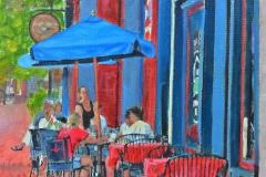 Coffee on Main Street web 11x14 Oil Framed
