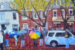 Rainy Day on Main Street web 11x14 Oil