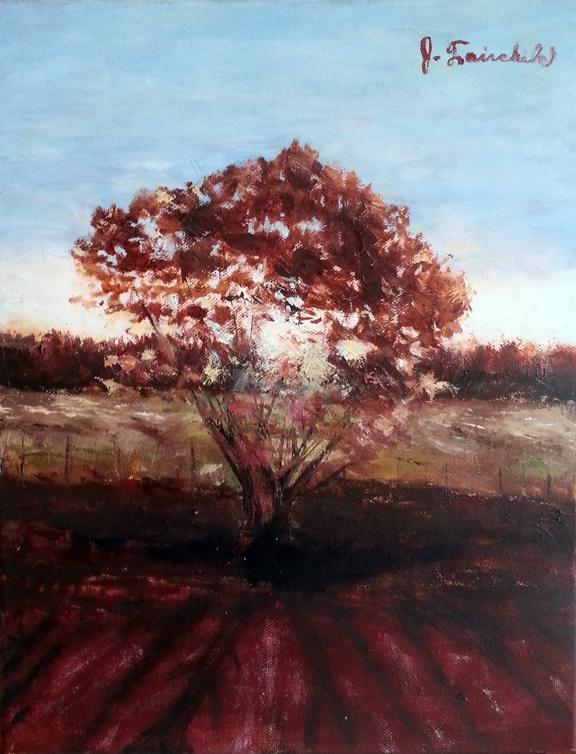 "Solitary Tree 11x14"" Oil Unframed $300"