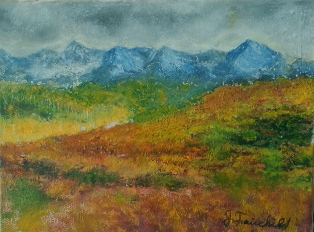 "Fields and Mountains - 9x12"" Oil on Canvas - $375.00"