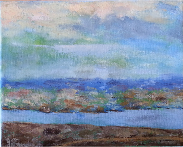 Sky, Land, River 8 x10 Oil on Canvas - Framed- $300.00